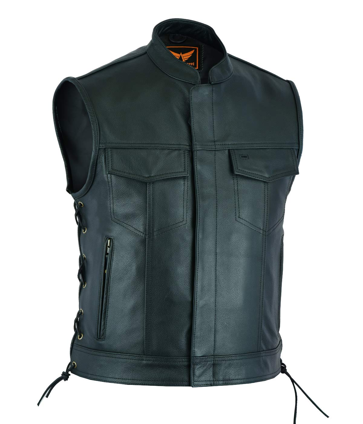 SOA Collarless Leather Vest Anarchy Motorcycle Biker Concealed Carry Black
