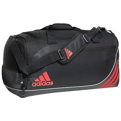 adidas Team Speed Duffel Bag (Medium), Black/Solar Red/Silver, 24 x 11 x 12.5