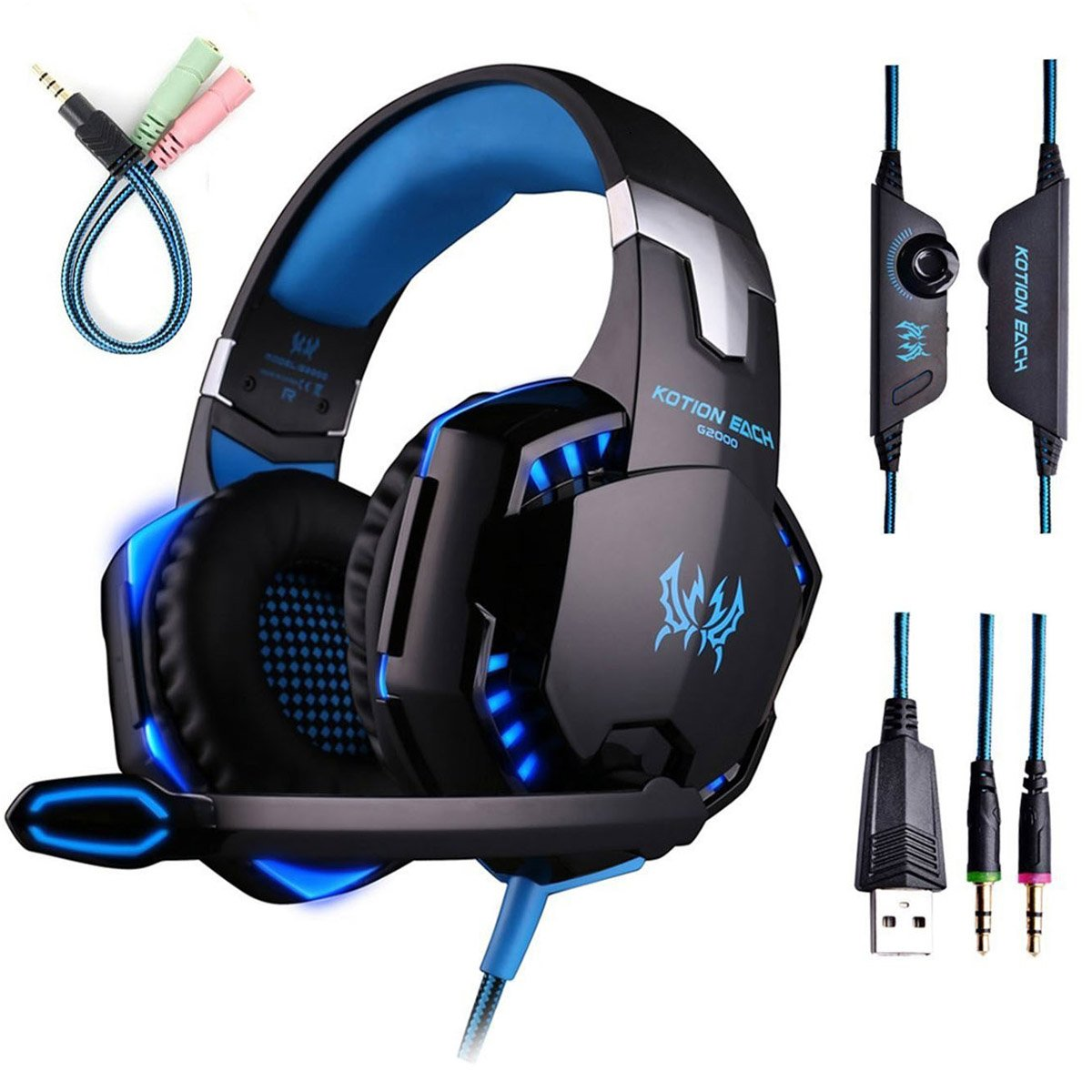 Gaming Headset with Mic for PC,PS4,Xbox One,Over-ear Headphones with Volume Control LED Light Cool Style Stereo,Noise Reduction for Laptops,Smartphone,Computer (Black & Blue) by ENVEL