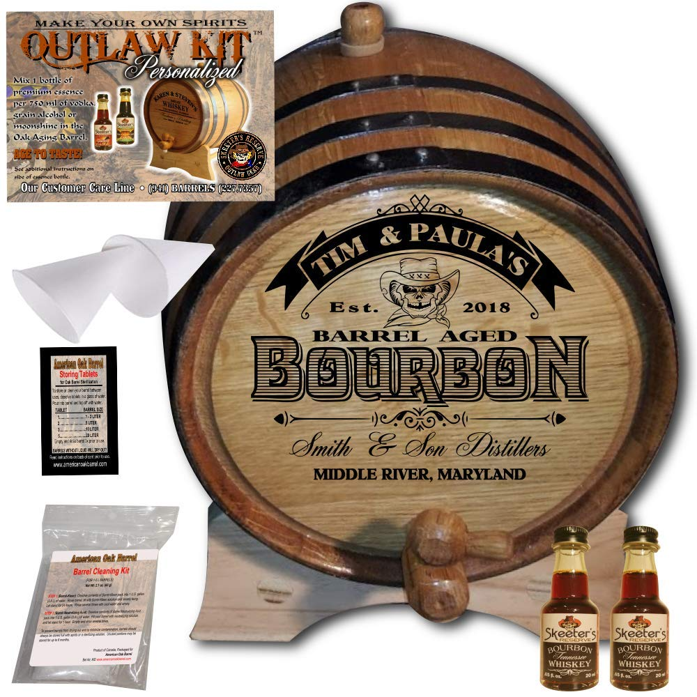 Personalized Whiskey Making Kit (102) - Create Your Own Tennessee Bourbon Whiskey - The Outlaw Kit from Skeeter's Reserve Outlaw Gear - MADE BY American Oak Barrel - (Oak, Black Hoops, 2 Liter) by American Oak Barrel