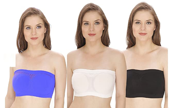 f2096aee799 Kyron Fashions Women s Cotton and Satin Non-Padded Tube Top Bra without Pad  Cup