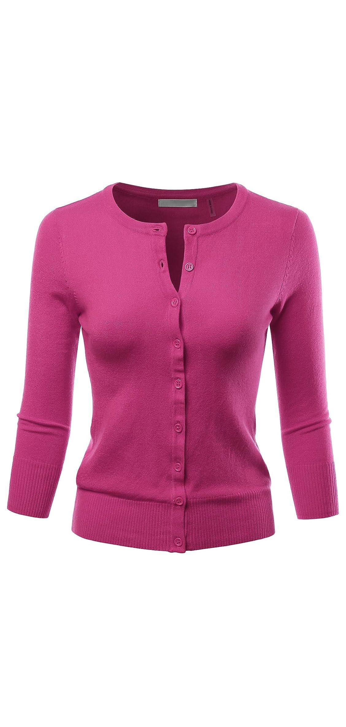 Women's / Sleeve Crewneck Button Down Knit Sweater