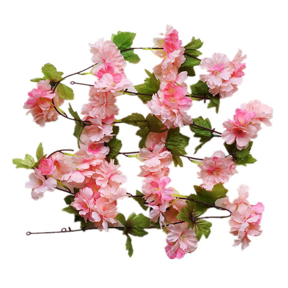 Mynse 2 Pieces Fake Flower Vines for Home Wedding Garden Fence Decoration Artificial Cherry Blossom Vines Deep Pink