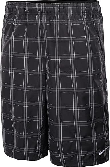 Nike N.E.T. Men's Woven Shorts Plaid 10 Black BlackWhite