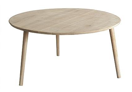 DHU Arzneimittel/Diameter 90 Cm Oiled Oak Coffee Table, White