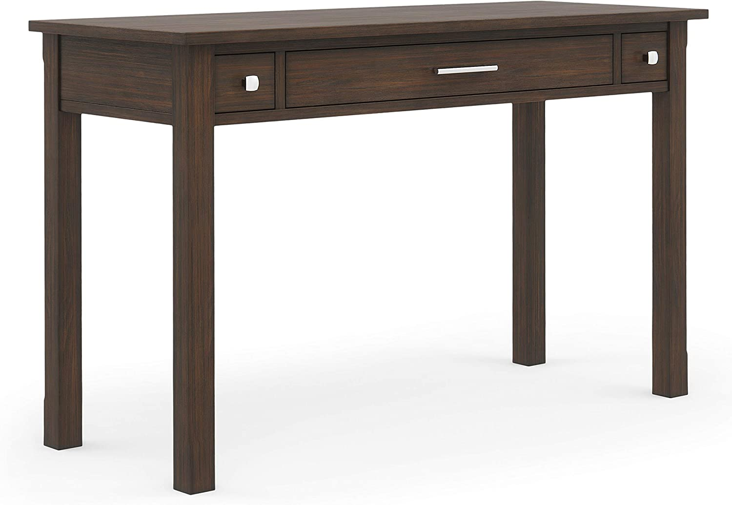 SIMPLIHOME Avalon SOLID WOOD Contemporary Modern 47 inch Wide Home Office Desk, Writing Table, Workstation, Study Table Furniture in Farmhouse Brown with 2 Drawerss
