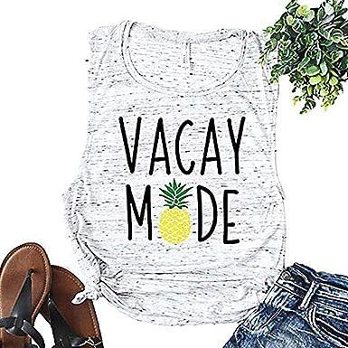 ca61e27d4f ALLTB Vacay Mode Pineapple Tank Tops Womens Vacation Shirt Casual  Sleeveless T-Shirt (White
