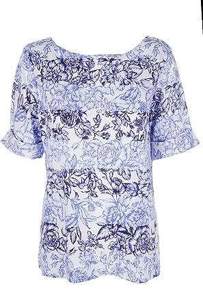bff5b771f01ac Karen Scott Womens Plus Boat-Neck Floral Print Pullover Top Blue 1X ...