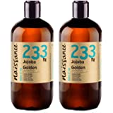 Naissance Cold Pressed Golden Jojoba Oil 1 Litre (2 x 500ml) - Pure & Natural, Unrefined, Vegan, Hexane-Free, No GMO - Ideal for Aromatherapy and as a Massage Base Oil