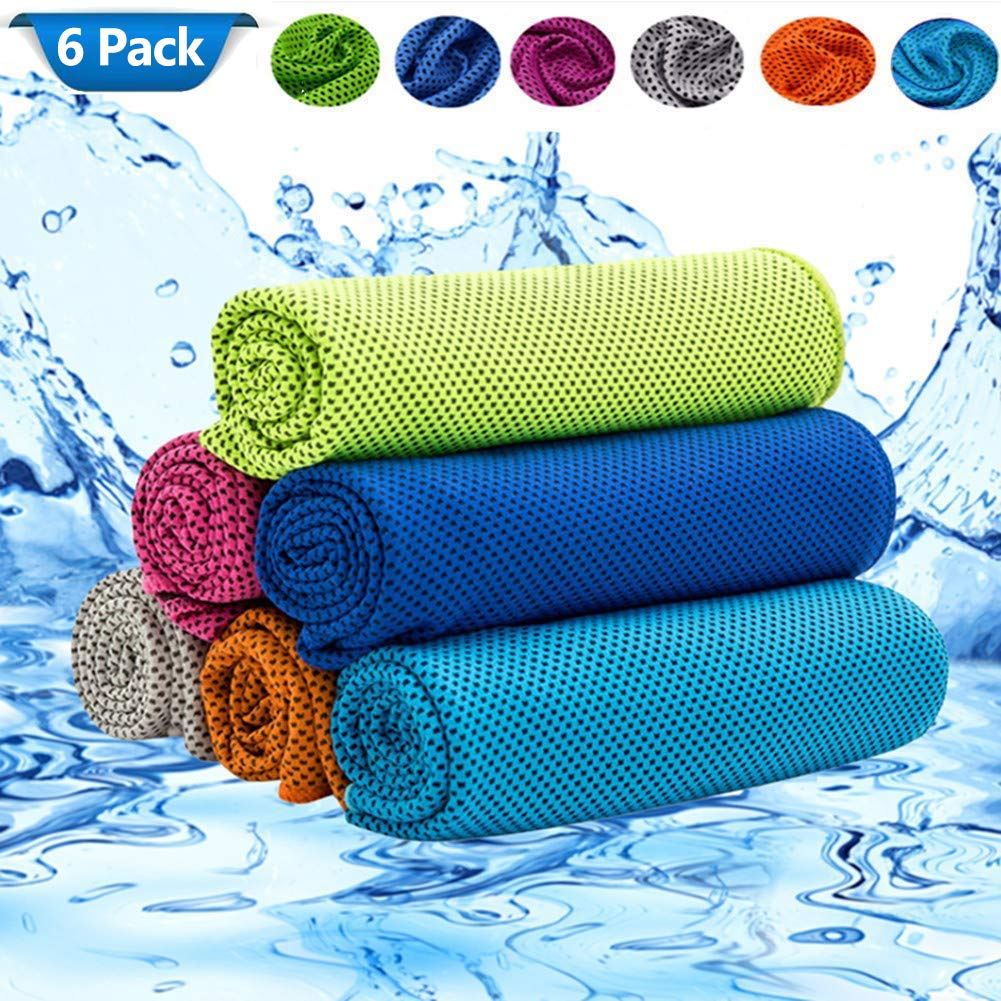 BESTOH Cooling Towel Ice Towel Chilly Towel Microfiber Towel for Neck Yoga, Sport, Running, Gym, Workout,Camping, Fitness, Workout & More Activities (6pack)