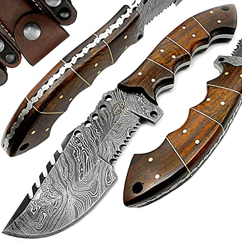 Rose Wood 9.5 Fixed Blade Custom Handmade Damascus Steel Tracker Hunting Knife Brass Pins Spacers Unique Beautiful File Work On Handel Come with Leather Sheath 100 Prime Quality