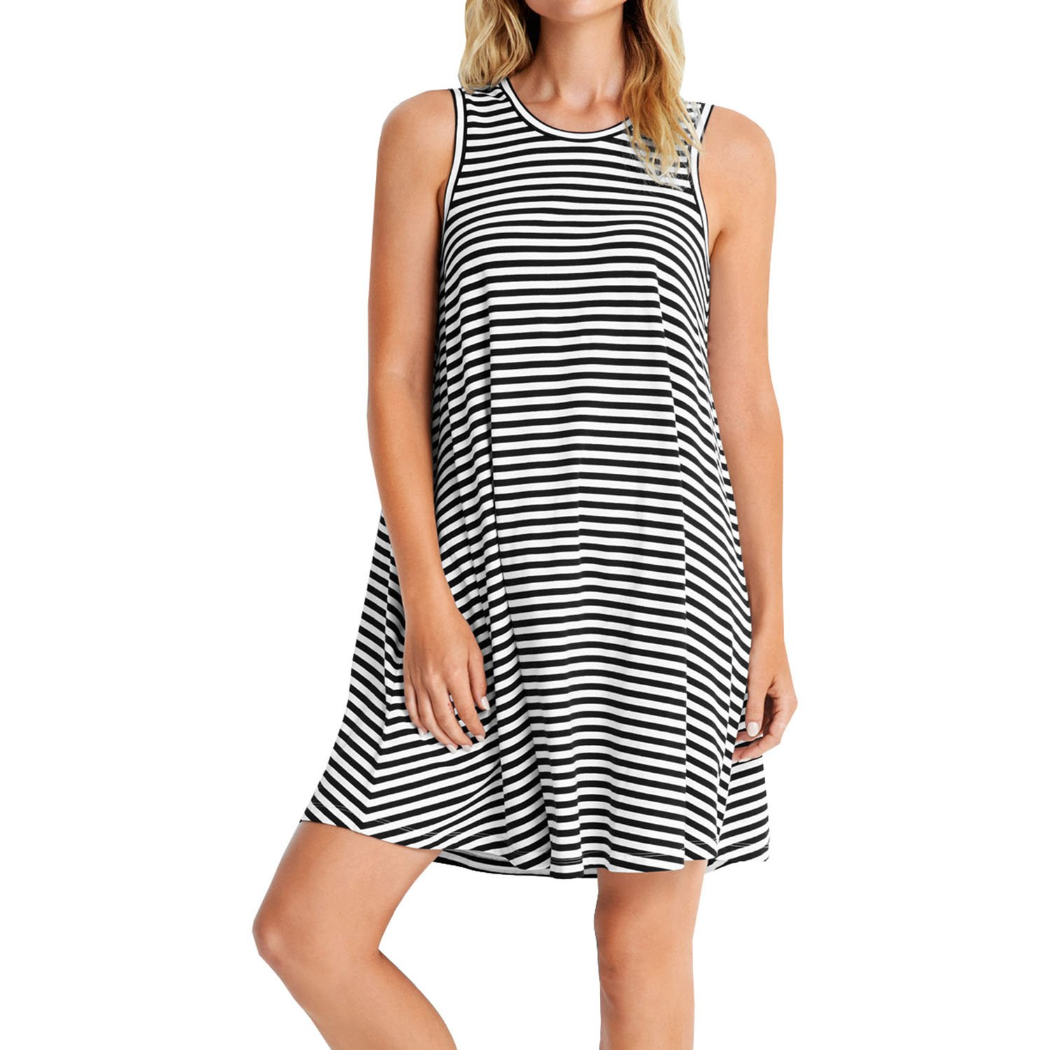 Seafolly Women's Indian Summer Mini Stripe Swing Jersey Dress Cover-Up Black Swimsuit Top