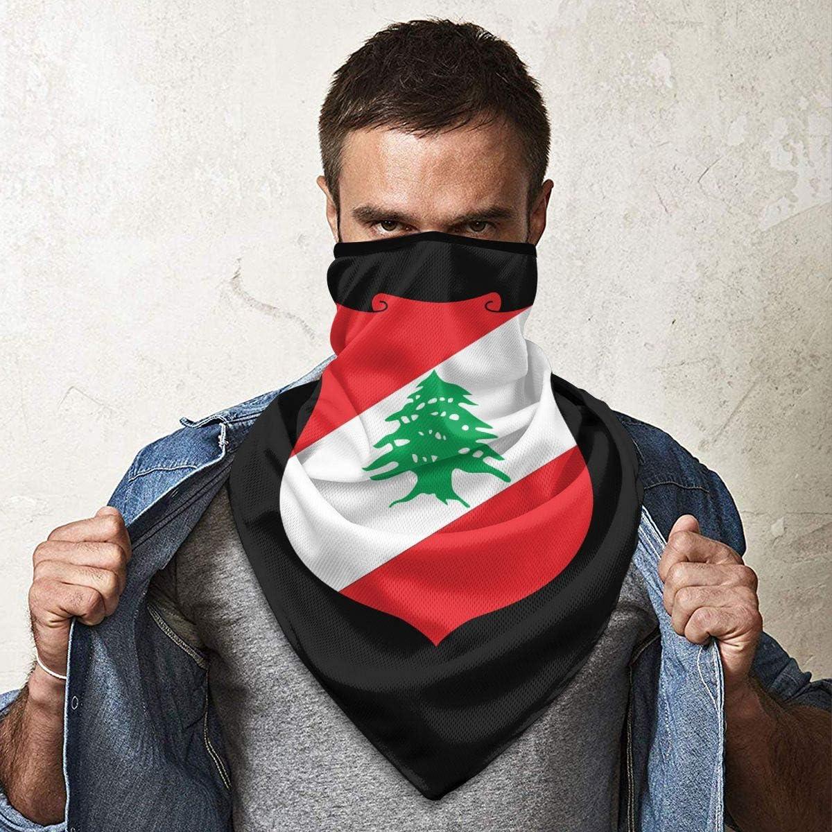 National Emblem of Lebanon Neck Gaiter Warmer Windproof Face Mask Scarf Outdoor Sports Mask
