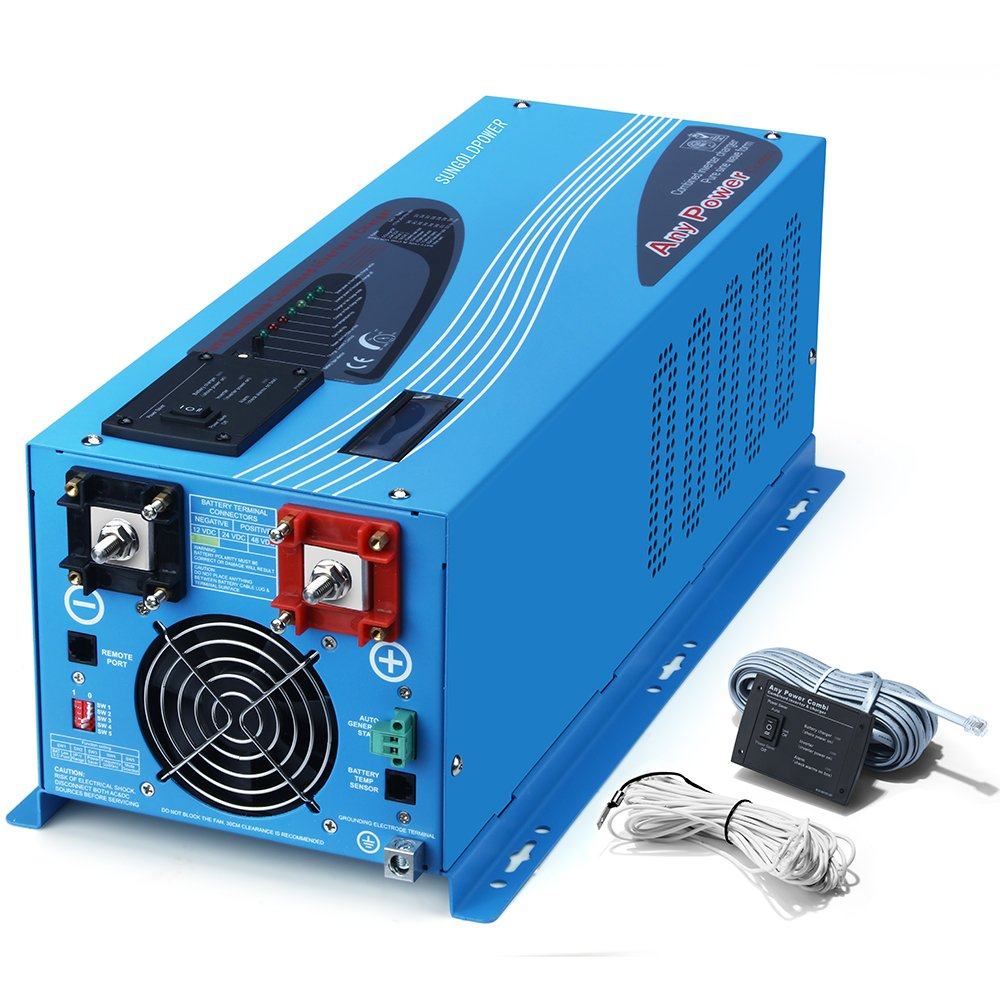SUNGOLDPOWER 3000W Peak 9000W Pure Sine Wave Power Inverter DC 24V AC 110V With Battery AC Charger 50A LCD Display Low Frequency Solar Converter BTS+Remote Control AC Priority Battery Priority Switch