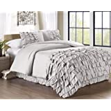 Chezmoi Collection Ella 3-piece Ruffle Duvet Cover Set (Queen, Gray)