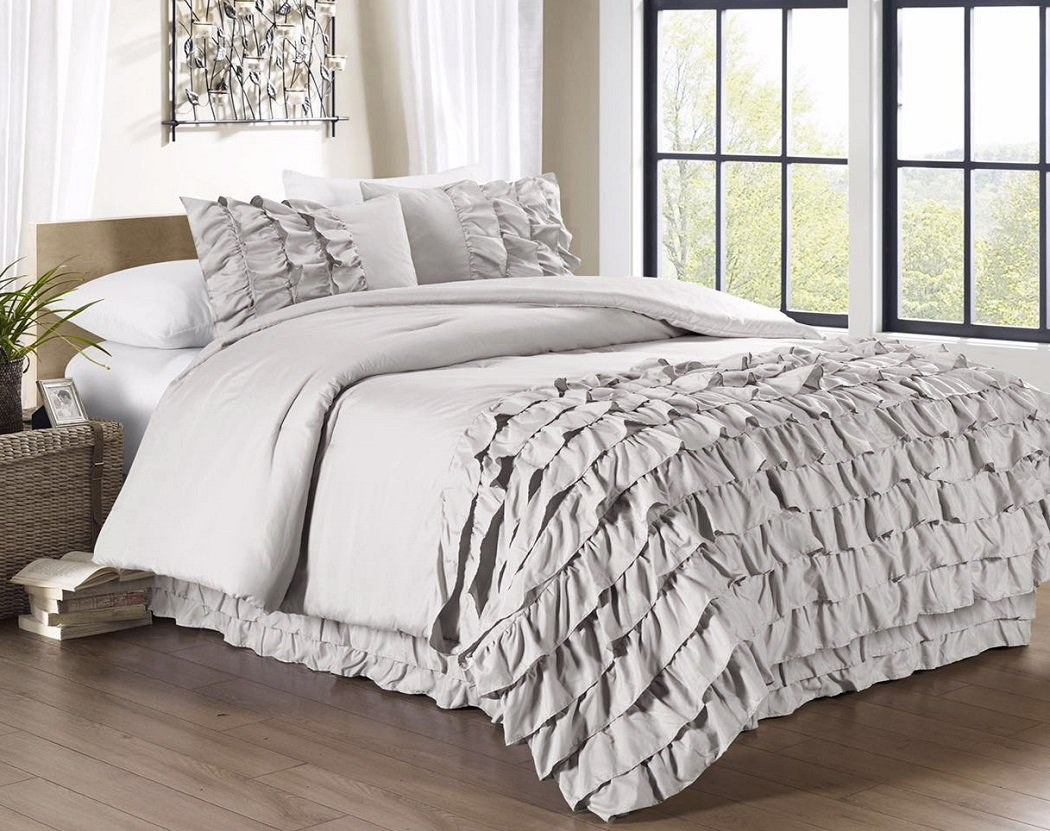 Chezmoi Collection Ella 3-Piece Ruffle Waterfall Comforter Set King, Grey Ella-Com-Gray-King