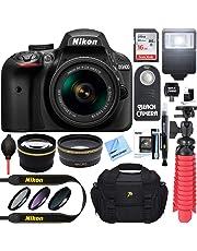 Nikon D3400 24.2 MP DSLR Camera + AF-P DX 18-55mm VR NIKKOR Lens Kit (Black) 32GB SDXC Memory + SLR Photo Bag + Wide Angle Lens + 2X Telephoto Lens + Flash Accessory Bundle (Renewed)