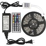 Awopee LEDテープライト LEDテープ型 防水 5050両面テープ5 m 300ストリップライトRGB 60leds / mカラー選択可能 正面発光 切断可能 44キーリモコン操作 5 A/12V高輝度 テープ型
