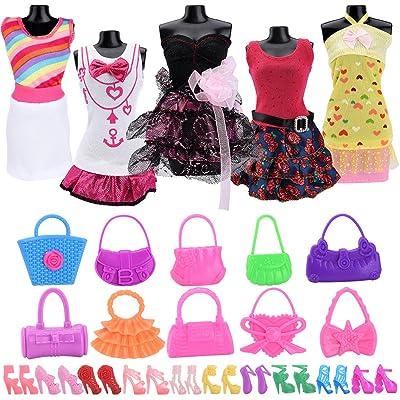 Asiv 5 Moda Vestido de Hecho a Mano, 10 Pares de Zapatos, 10 Bolso de Bandolera Ropa Accesorios para muñecas Barbie - Estilo Aleatorio: Juguetes y juegos