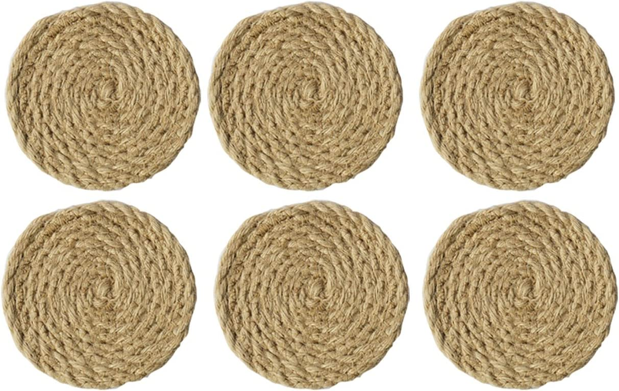 Amazon Com Set Of 6 Round Woven Linen Coaster Placemat Original Color Of Material Health And Environmentally Friendly Natural Jute Rope Woven Coasters For Dining Table Kitchen Drinking Coffee 7 2inch Home Kitchen