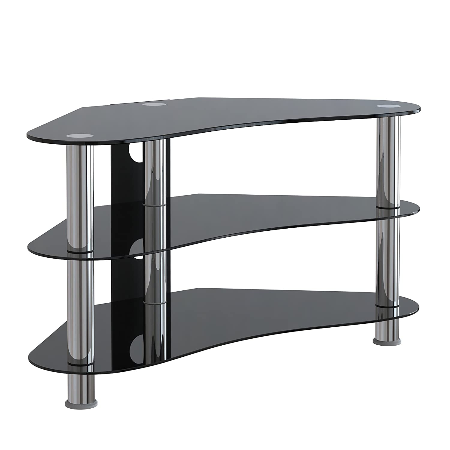 Corner tv unit stand console entertainment unit black for Miroir noir dvd