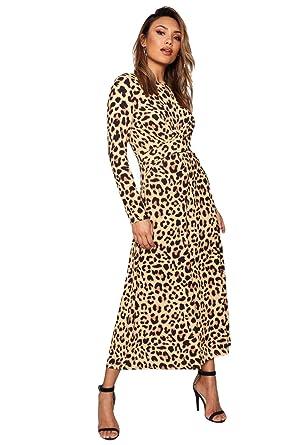 75c63a4a1d7924 Damen Braun Annie Jumpsuit mit Zierknoten in Leoparden-Print  Amazon.de   Bekleidung