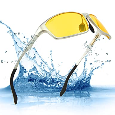2760a4eb04 SOXICK Night Driving Glasses for Men HD Polarized Yellow Imported Resin  Lenses Al-Mg Metal Frame (Silver