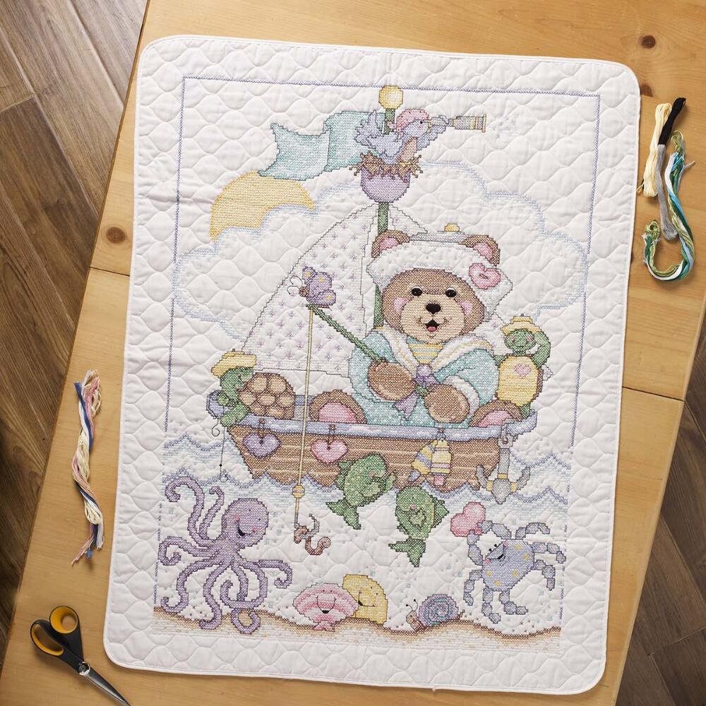 Plaid Ships Ahoy Baby Quilt Stamped Cross-Stitch Kit