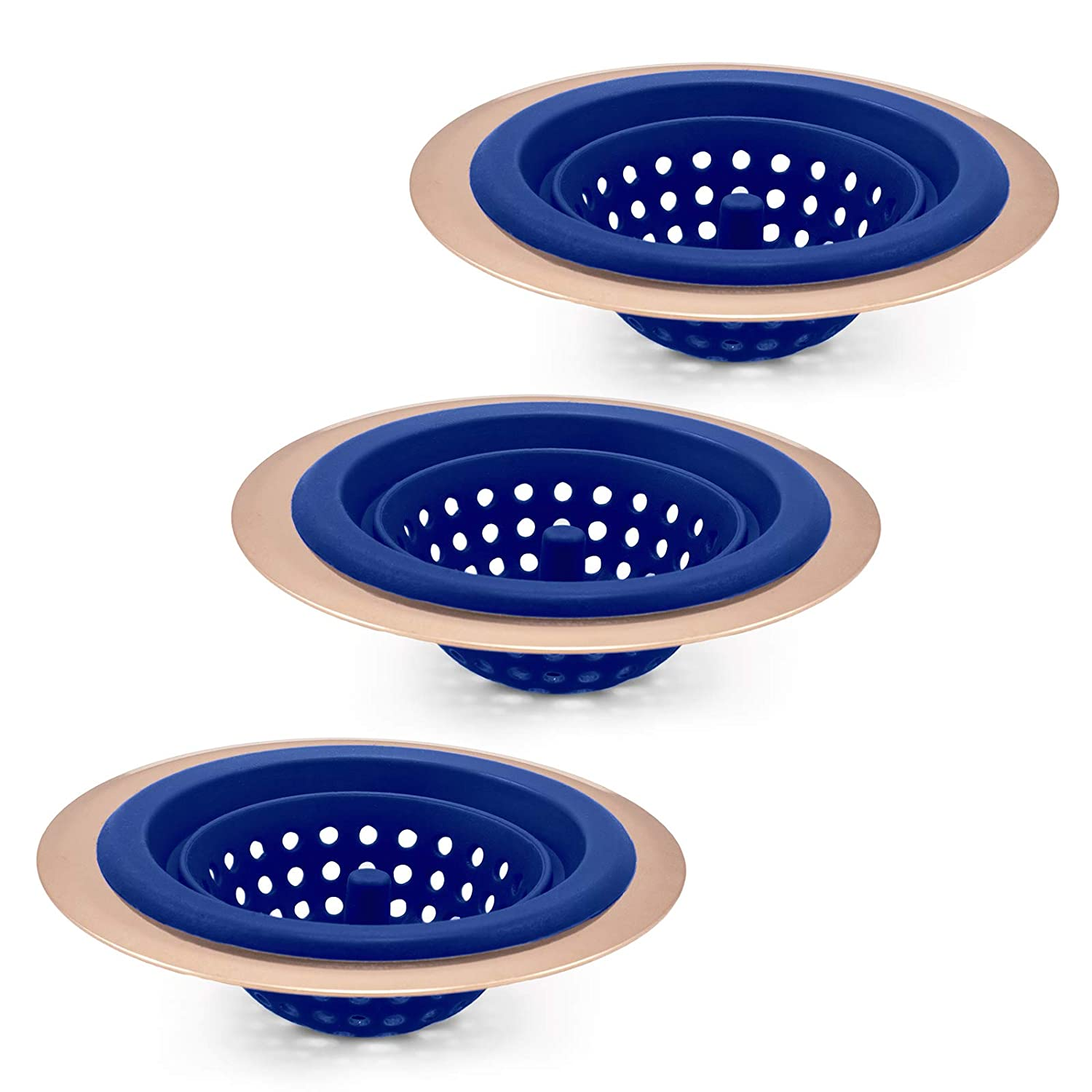 COOK with COLOR Set of 3 Sink Strainers, Flexible Silicone Kitchen Sink Drainers, Traps Food Debris and Prevents Clogs, Large Wide 4.5' Diameter Rim – Blue and Copper