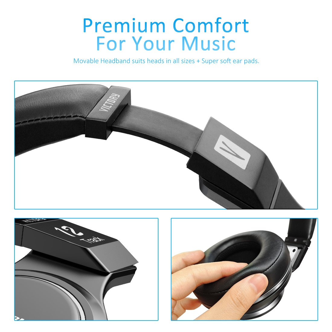 Bluedio V (Victory) Pro Patented PPS12 Drivers Wireless Bluetooth headphones (Black) by Bluedio (Image #2)