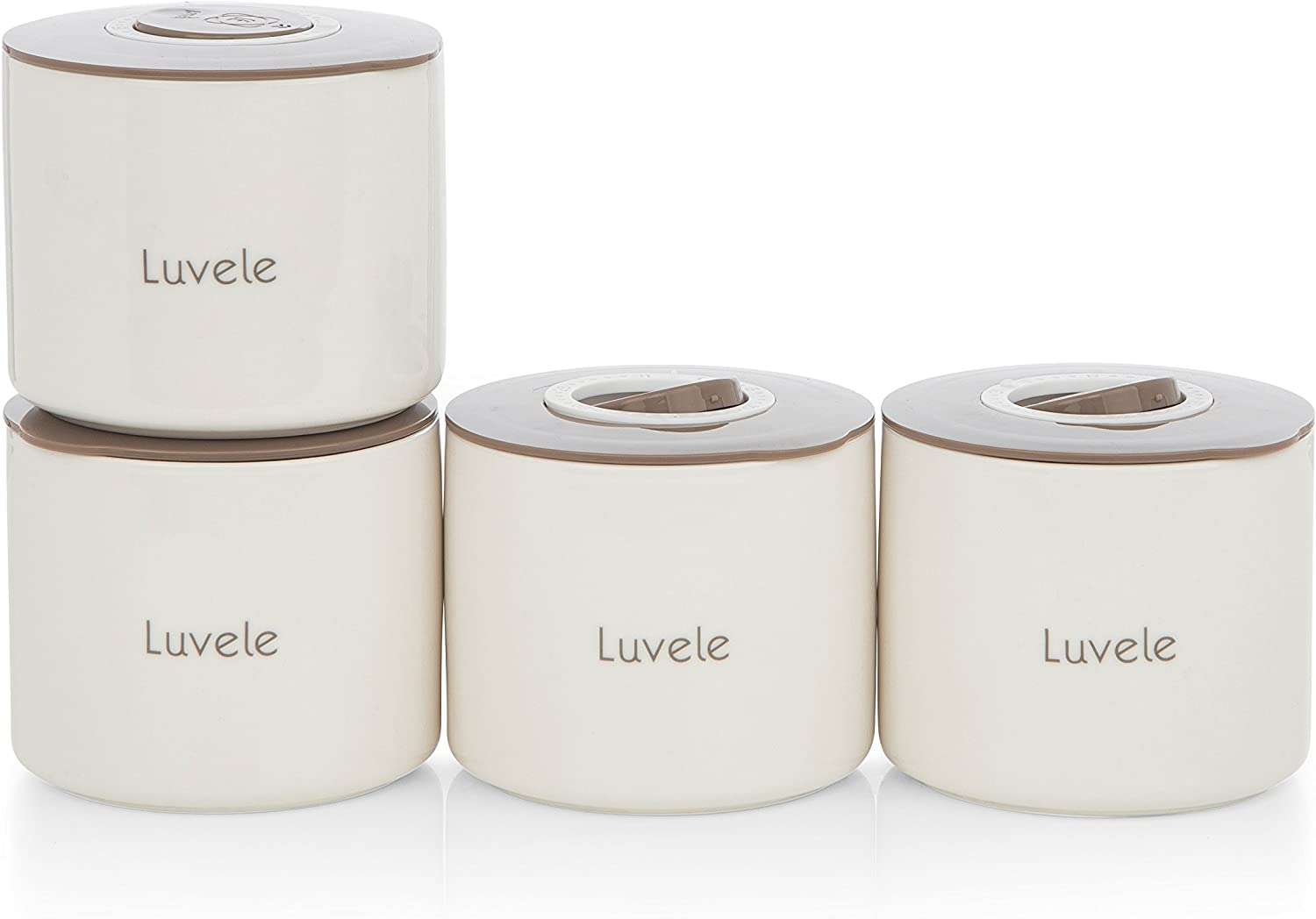 Luvele 4x 400ml ceramic yogurt jars Compatible with Pure Yogurt Maker