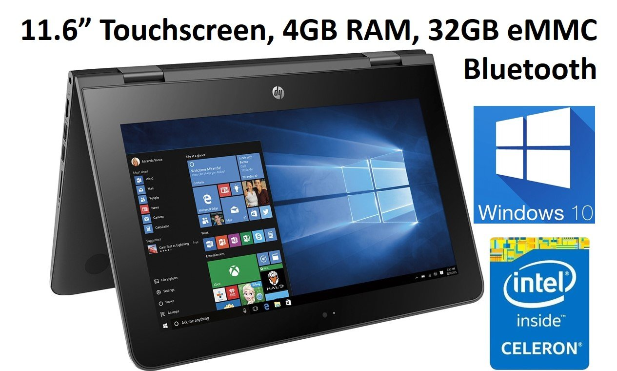 HP X360 11-AB011DX 11.6-Inch Touchscreen 2-in-1 Convertible Premium HD Laptop (Intel celeron N3060, 4GB RAM, 32GB eMMC, Windows 10 Home) Black by HP