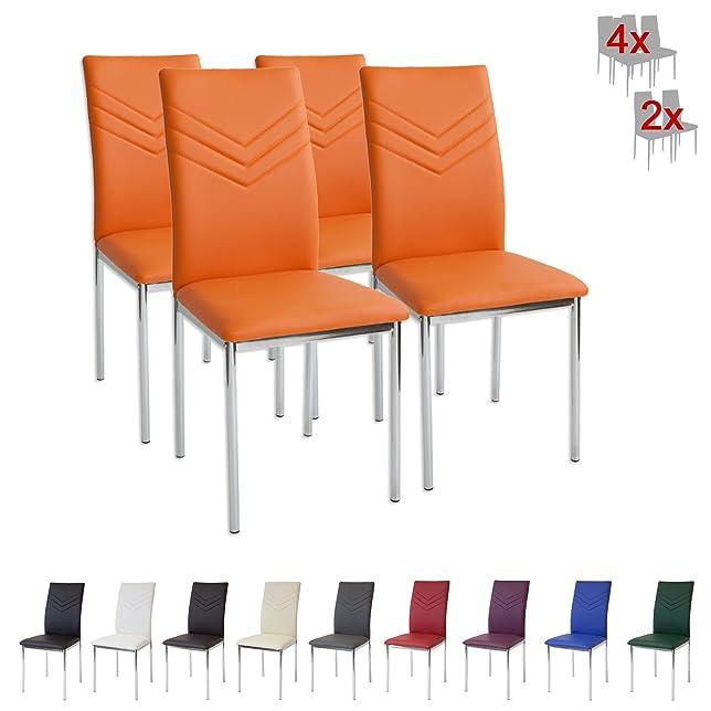 108 opinioni per Albatros 2946 VERONA Set di 4 sedie da pranzo, arancione, piede cromato, SGS