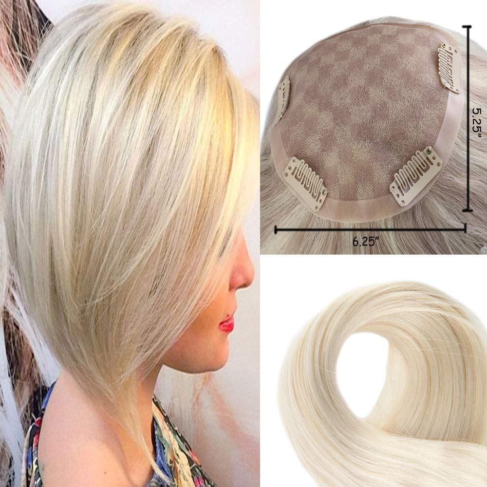Easyouth Mini Wig Topper For Women With Thinning Hair 16'' #60 Platinum Blonde Mono Topper Closure Human Hair Extensions Women's Toupee Hair Clips 5.25×6.25''