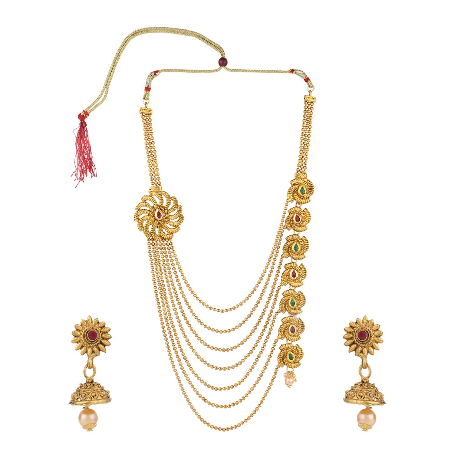 Efulgenz Indian Bollywood Traditional Multi Layered 14 K Gold Plated Crystal Kundan Wedding Temple Necklace Earrings Jewelry Set