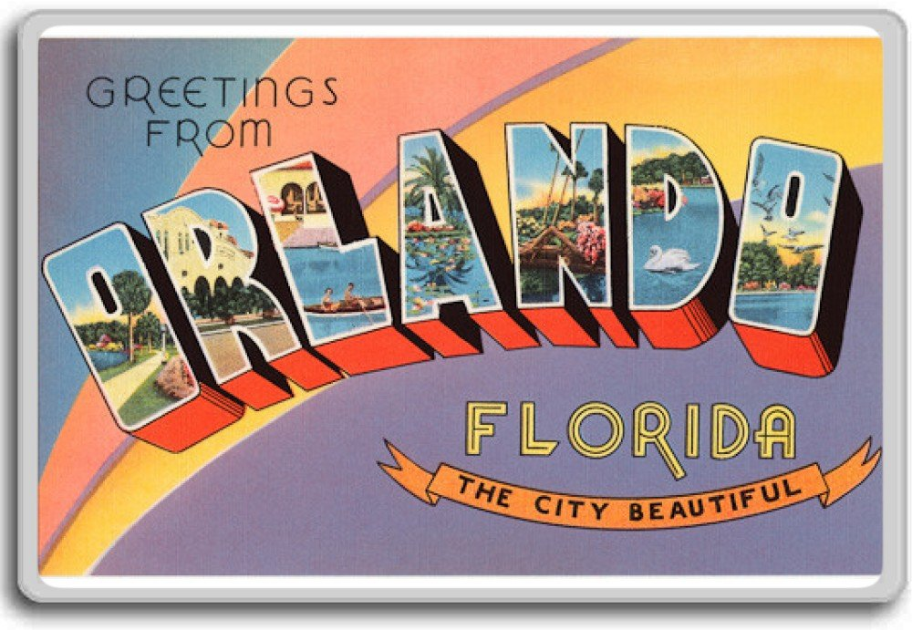 Greetings From Orlando City Beautiful, Florida - Vintage 1940s Postcard fridge magnet