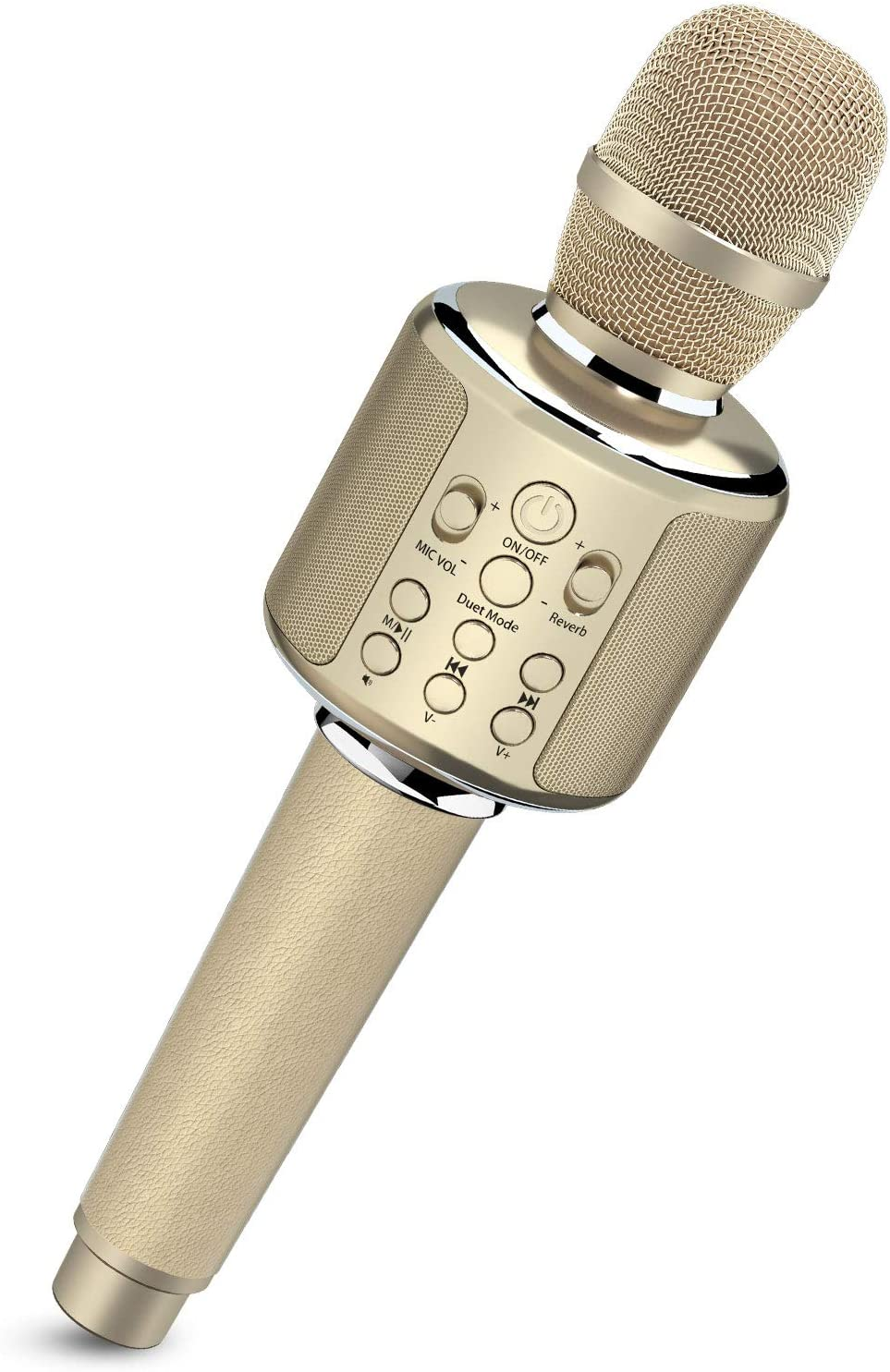 Bluetooth Karaoke Microphone, Wireless Portable Handheld Karaoke Mic Speaker Machine with Duet Vocal Remover Function Home Party for All Smartphone(Gold)