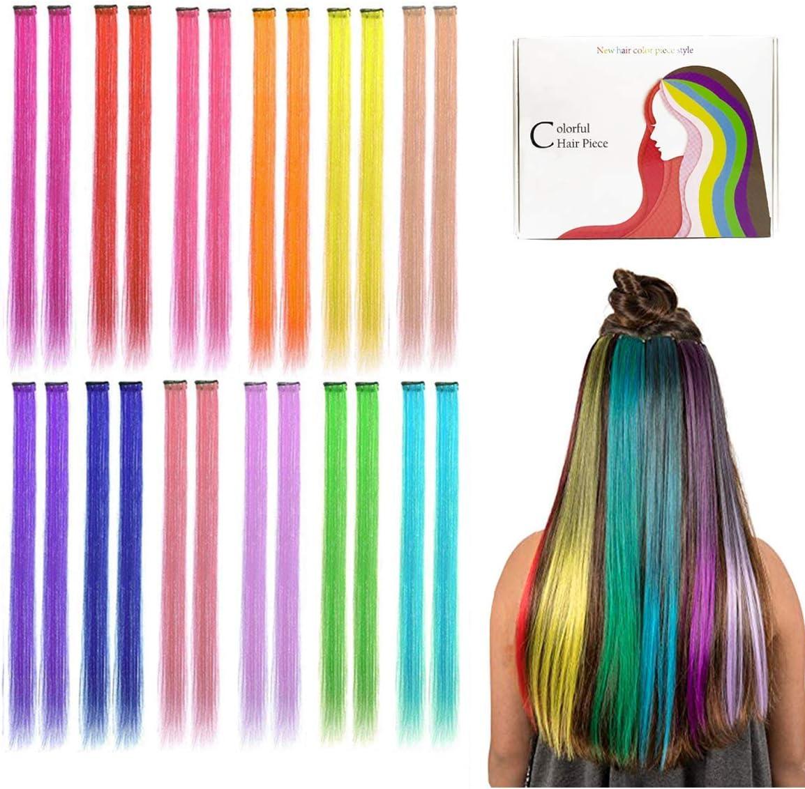 Kyerivs Extensiones de Pelo con Clip Destacadas de Fiesta Coloridas, 50 cm, resistente al calor, recto, extensiones de cabello cospaly, fiesta de ...