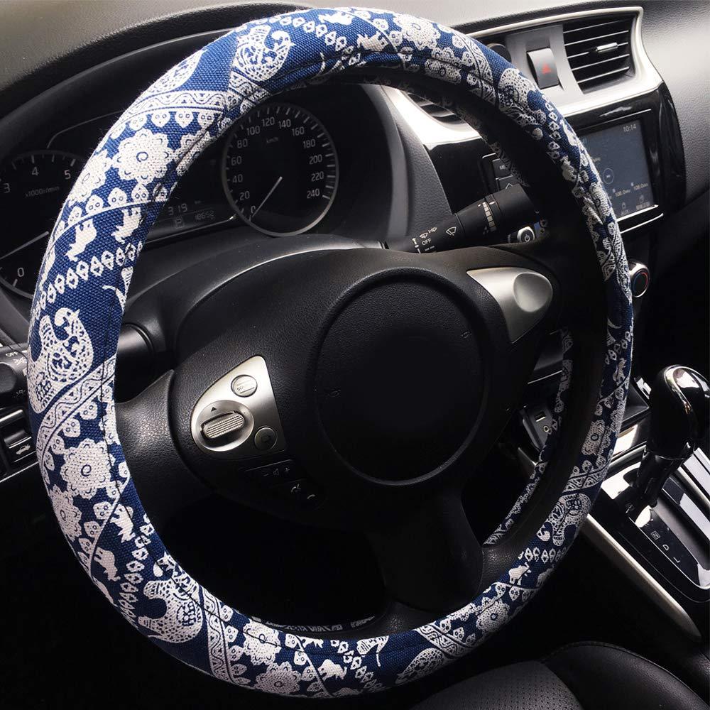 Rayauto Automotive Ethnic Flax Cloth Cute Elephant Universal Car Steering Wheel Cover
