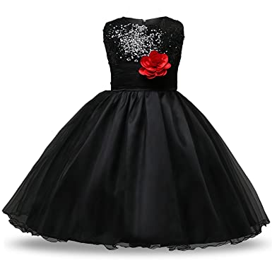 9a4b8b68ec0 IIYoYo Girls Kids A Line Sequins Flower Princess Lace Ruffles Dresses for Christmas  Wedding Birthday Party