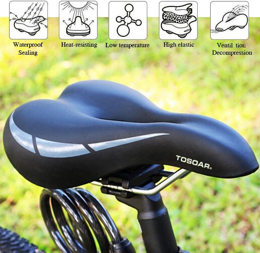 TOSOAR Sillines de Bicicleta MTB Carretera Antiprostático Asiento Ciclismo de Gel Cómodo Acolchado de Espuma de Memoria con Bici de Montana Regalo Funda Impermeable (Negro): Amazon.es: Deportes y aire libre
