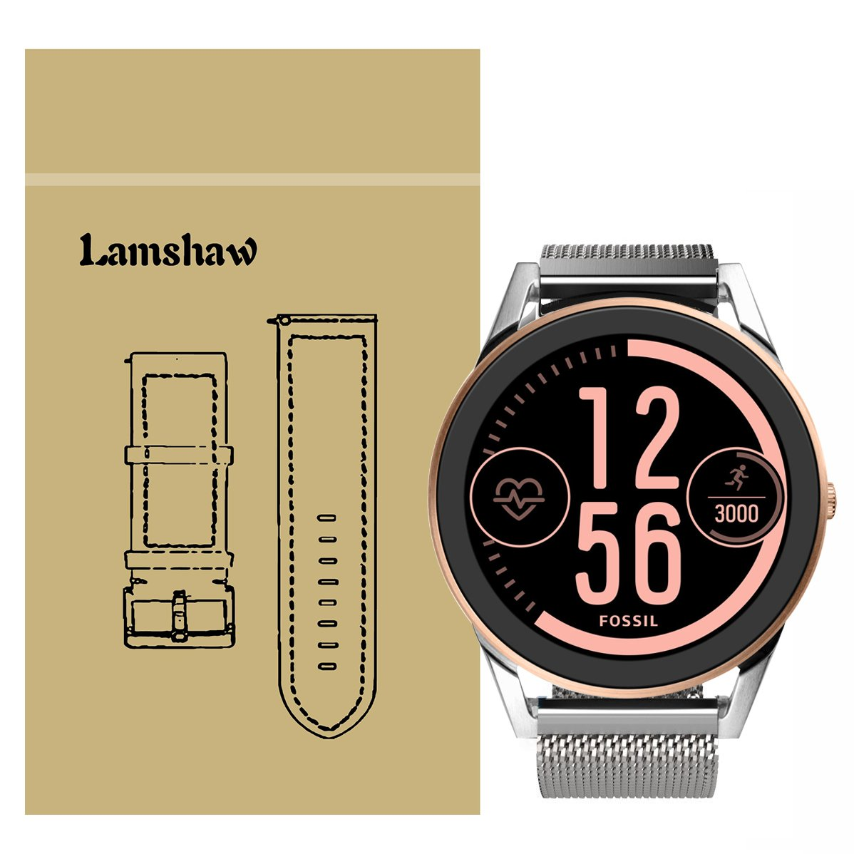 Lamshaw Quick Release Smartwatch Band for Fossil Q Control, Silicone Soft Band with Ventilation Holes Replacement for Fossil Gen 3 Sport SMARTWATCH - ...