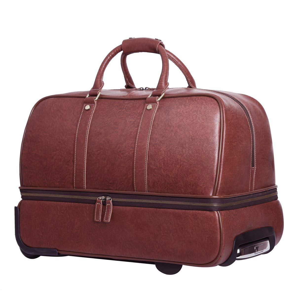 Leathario Leather Luggage travel duffle bag weekend overnight bag (Burgendy)