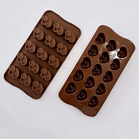 ZARRS Molde para Bombones,2 Pack Silicona Moldes de Chocolate Antiadherentes Mini Corazoncitos Molde para