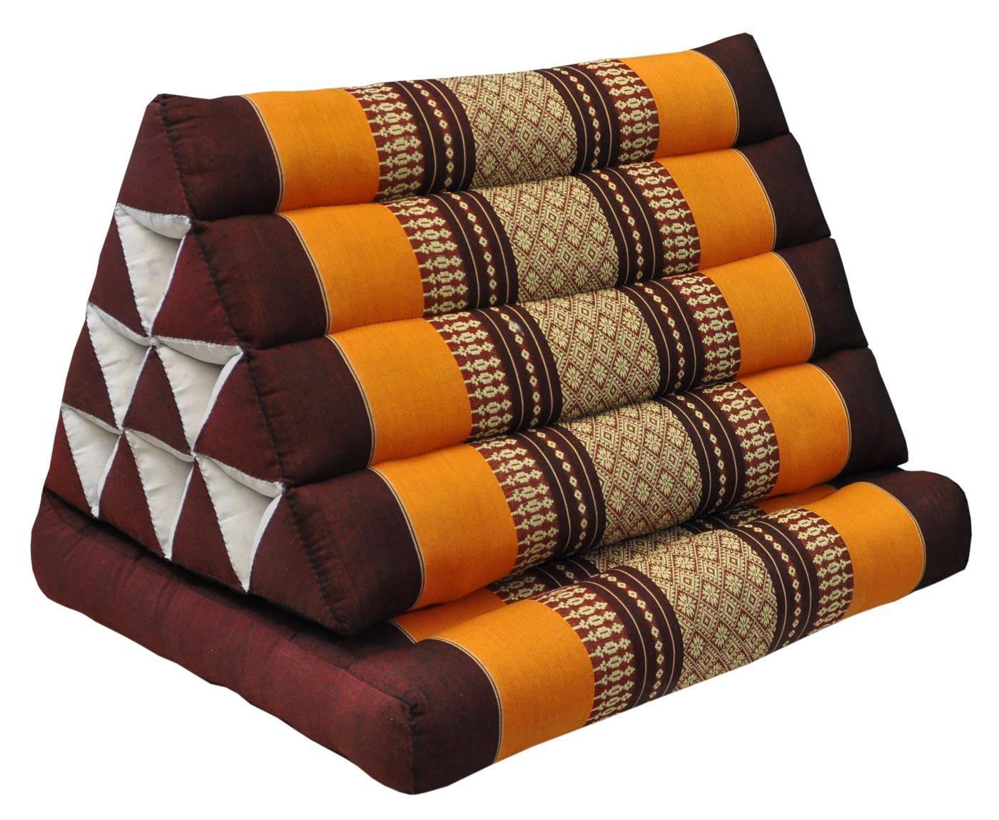 Thai triangle cushion with 1 folding seat, brown/orange, relaxation, beach, pool, meditation, yoga, (81101)