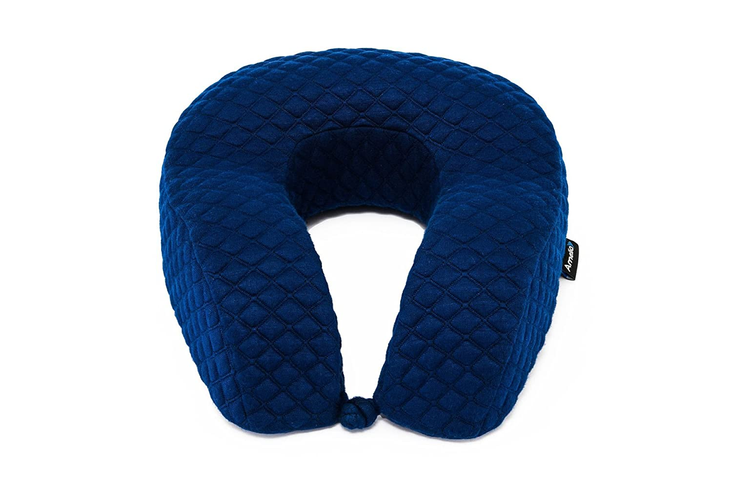 Luxury travel neck pillow memory foam head support best cushion with high sides easy removable and washable cover extremely soft and comfy dark blue