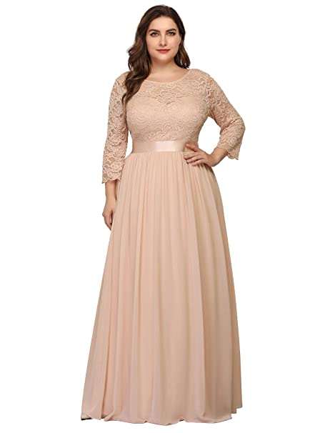 Ever-Pretty Women\'s Plus Size A-Line 3/4 Lace Sleeves Chiffon Long Formal  Evening Party Maxi Dress 7412PZ