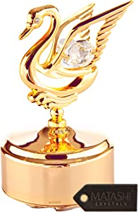 Matashi 24K Gold Plated Music Box with Crystal Studded Swan Figurine Home Bedroom Living Room Decor Tabletop Ornaments Showpiece Gift for Musician Christmas Thanksgiving Mother's Day - Swan Lake