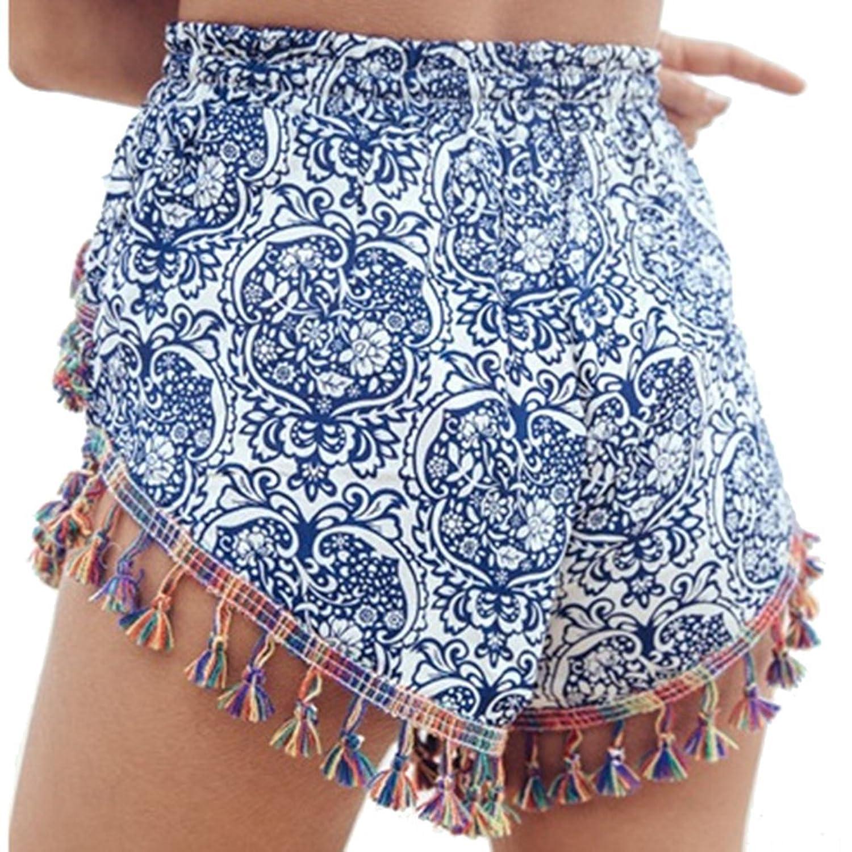 Été court, Sayue pantalons décontractés pour femmes à imprimé floral pour maison de plage