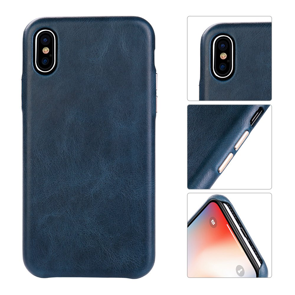 iPhone Xs/X Case Genuine Leather HCYANG Microfiber Lining Protective iPhone 10 Case Cover Slim Fit Vintage Shell Hard Back Cover for Apple iPhone X/XS 5.8'' (2018) Blue